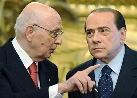 Il capo dello Stato Giorgio Napolitano con il presidente del Consiglio Silvio Berlusconi