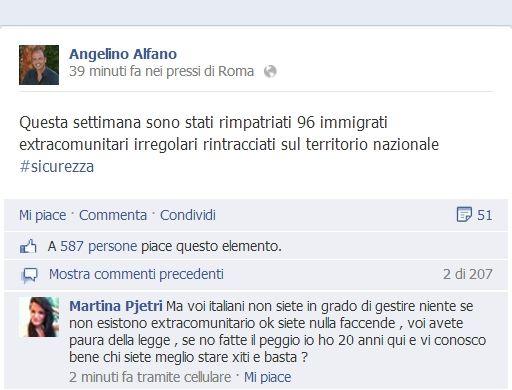 angelino alfano facebook clandestini
